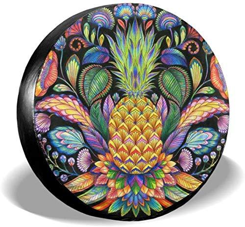 MODORSAN Pineapple Tattoo - Cubierta de neumático de Rueda de Repuesto de poliéster, Cubiertas de Rueda universales para Jeep, Remolque, RV, SUV, camión, Accesorios, 16 Pulgadas