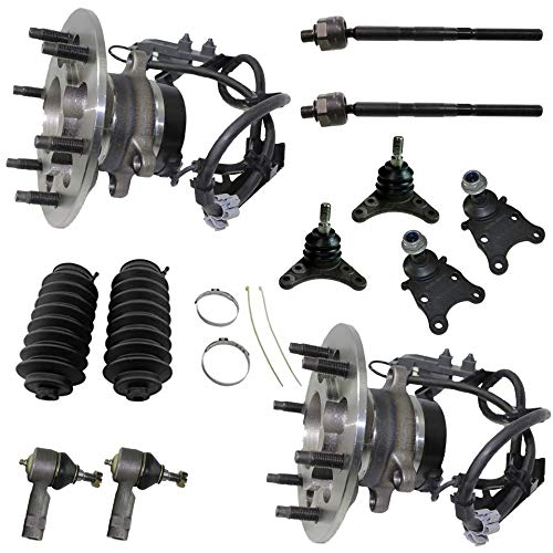 Detroit Axle - 2WD Front Wheel Hub Bearing Ball Joint Tie Rod W/Boot for 2006-2008 Chevy Canyon, GMC Colorado, Isuzu I-290, Z85 Chassis, Coil Spring Suspension - 12pc Set
