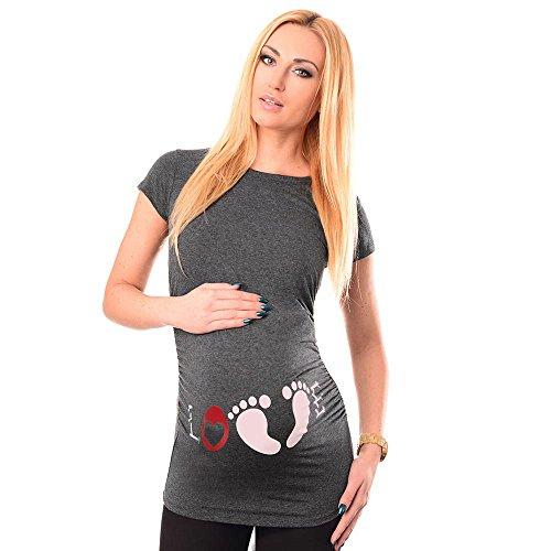 URSING_Damen Umstandsmode Mode Drucken Mutterschaft Kurzarm T-Shirt Ku