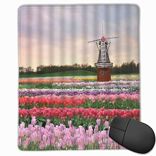 MUYIXUAN Gaming Mouse Pad Flower Colorful Tulip Manor Garden Danish Windmill Building Non-Slip Rubber Mouse Pads Mousepad for Gaming Computer Office desk,25×30×0.3cm