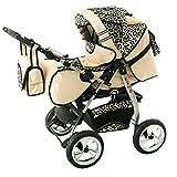 Cochecito de bebe 3 en 1 2 en 1 Trio Isofix silla de paseo King car by SaintBaby crema & leopardo 3in1 con Silla de coche