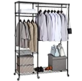 BRIAN & DANY Free-standing Closet Garment Rack, Heavy Duty Clothes Wardrobe, Rolling Clothes Rack ,Closet Storage Organizer with Hanger Bar ,Contains 10 s hooks,Black