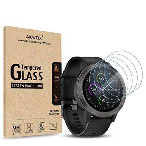(4-Pack) Compatible with for Garmin Vivoactive 3 Screen Protector, Akwox [0.3mm 2.5D High Definition 9H] Tempered Glass Screen Protector for Garmin Vivoactive 3 / Fenix Chronos
