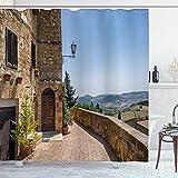 qulia 60X72inch Paredes de Cortina de Ducha Italiana de Pienza en Toscana Lugar de interés histórico Europeo Arte Tela de Tela Decoración de baño con Ganchos