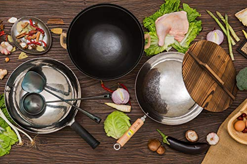 Product Image 9: ZhenSanHuan Chinese Hand Hammered Iron Woks and Stir Fry Pans, Non-stick, No Coating, Less Oil, 章丘铁锅,舌尖上的中国,A bite of China (Not Seasoned 32CM)