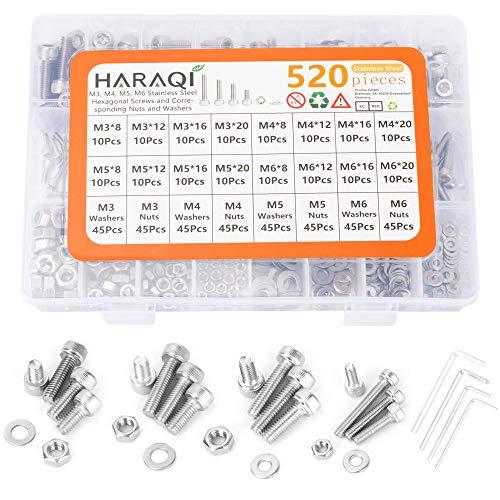 Haraqi Juego de 520 tuercas de tornillo hexagonal, juego de tornillos (M3/M4/M5/M6),...