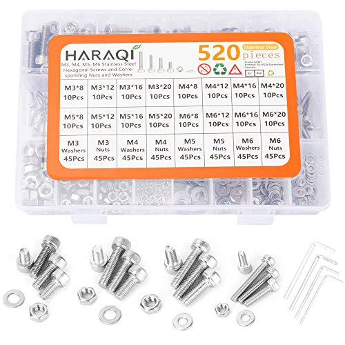 Haraqi Juego de 520 tuercas de tornillo hexagonal, juego de tornillos (M3/M4/M5/M6), de acero inoxidable 304, con cabeza hexagonal, arandelas planas y llave Allen.