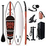 FunWater SUP Stand Up Paddle Board hinchable 335 x 84 x 15 cm, accesorios completos, remo ajustable, bomba, mochila de viaje, correa, bolsa impermeable de 10 l, capacidad de carga de hasta 150 kg