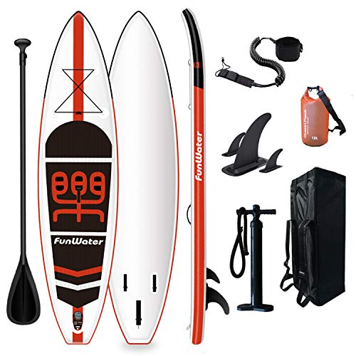 FunWater Inflatable Stand Up Paddle Board 335 x 84 x 15 cm Complete Accessories Adjustable Paddle, Pump, ISUP Travel Backpack, Lead, 10 L Waterproof Bag, Up to 150 kg Load Capacity