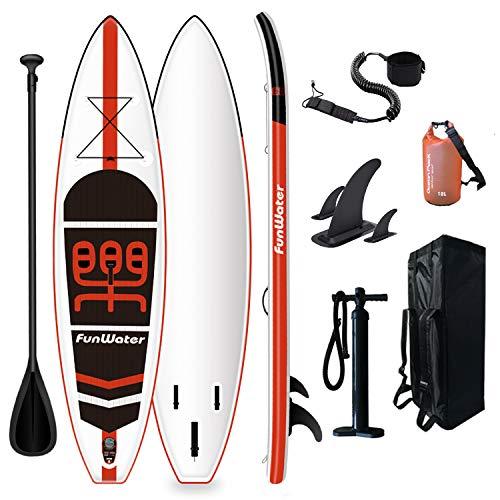 FunWater Stand Up Paddle Board hinchable 335 x 84 x 15 cm, accesorios completos, remo ajustable, bomba, mochila de viaje, correa, bolsa impermeable de 10 l, capacidad de carga de hasta 150 kg