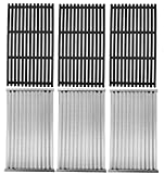 Stamped Emitter and Cast Iron Grill Grate Replacement Kit for Charbroil 463242715 463242716 Commercial Infrared 4B 463257520 463276016 466242715 466242815 G533-0009-W1A G533-2200-W1, 17x9.5'',3PCS Set