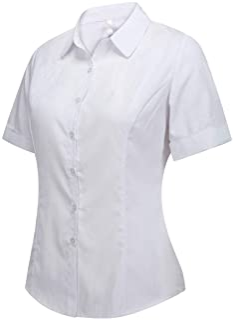 Double Plus Open Women's Cotton Basic Button Down Shirt Tailored Short Sleeve Blouse