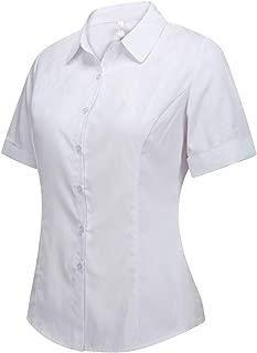 Women's Cotton Basic Button Down Shirt Tailored Short Sleeve Blouse