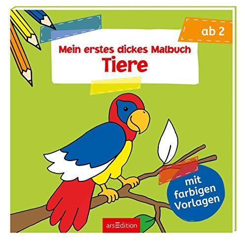 Mein erstes dickes Malbuch - Tiere: Mit farbigen Vorlagen (Malbuch ab 2 Jahren)