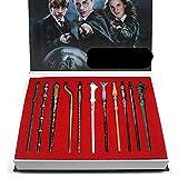 WENJZJ Harry Cosplay Varita Hogwarts Collar Anillos Broche Pin Insignia Colgante llaveros de Moda Accesorios de Disfraces Ventiladores metálicos Set de Regalo de cumpleaños-C