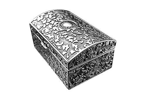 Brillibrum Design Schmuckkästchen versilbert Antikes Muster Schmuckdose anlaufgeschützt Ring-Etui mittlere Größe
