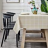 Rechteckige Tischdecke Abwischbar Wasserdicht Tischtuch PVC Tischdecke Innenbereich Outdoor Tischdecke FüR Speisetisch KüChentisch Garten Tischdecke-Beige Quadrat140×220cm