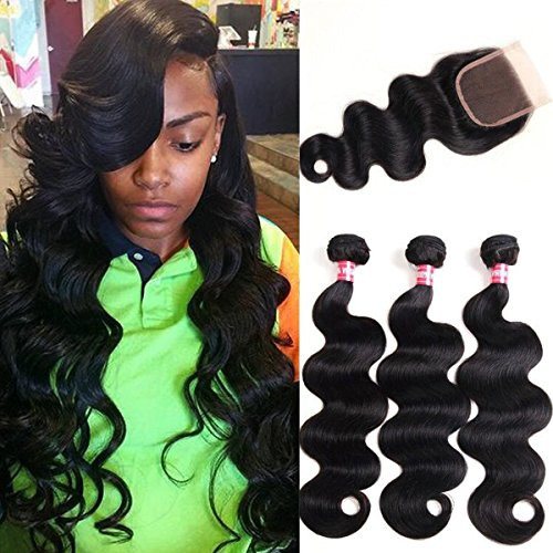 WENYU Brazilian Virgin Body Wave 3 Bundles with Closure 100% Virgin Body Wave Human Hair Weave Weft Extensions with 4x4 Lace Closure Natural Color(14 16 18+12Free Part)