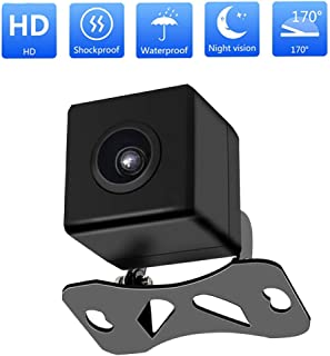 Uzone Backup Camera with IP67 Waterproof Night Vision and 170°Wide Angle Universal CCD Sensor Rear View Camera for Cars, Vans, Trucks, RVs (Black)