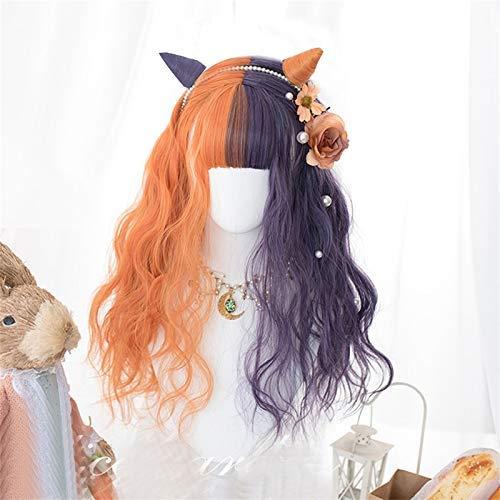 Las Mujeres Peluca rizada Larga Lolita 60 cm de Naranja Mezclado sinttico prpura Mitad Ombre Bangs Partido Lindo Pelo Peluca (Color : Kinky Wig with Clips, Size : 24inches)