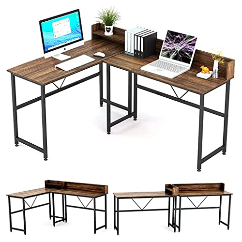 Umekesa L Shaped Desk Reversible Corner Computer Desk or 2 Person Table for Home Office Large Gaming Writing Workstation with Hutch, Space Saving, Rustic Walnut