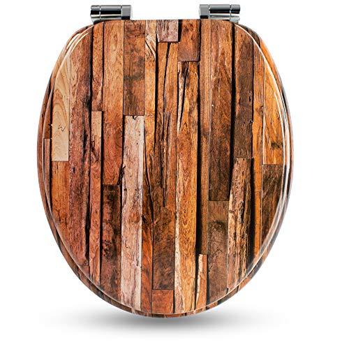 Holzkern WC Sitz mit Absenkautomatik von Sanfino, hochwertige Qualität und viele bunte Motive, bequemer Sitzkomfort, einfache Montage inklusive Montageanleitung W1018C Industrial Wood