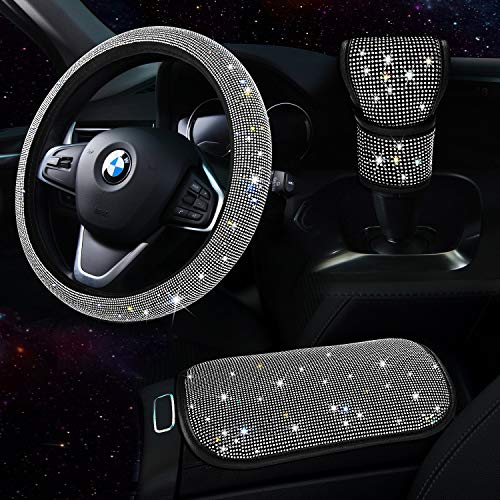 TZARROT White Bling Car Accessories for Women, Diamond Bling Steering Wheel Cover for Women Universal Fit 15 Inch, Rhinestone Center Console Cover, Bling Gear Shift Cover, Crystal Car Decor Set 3Pack
