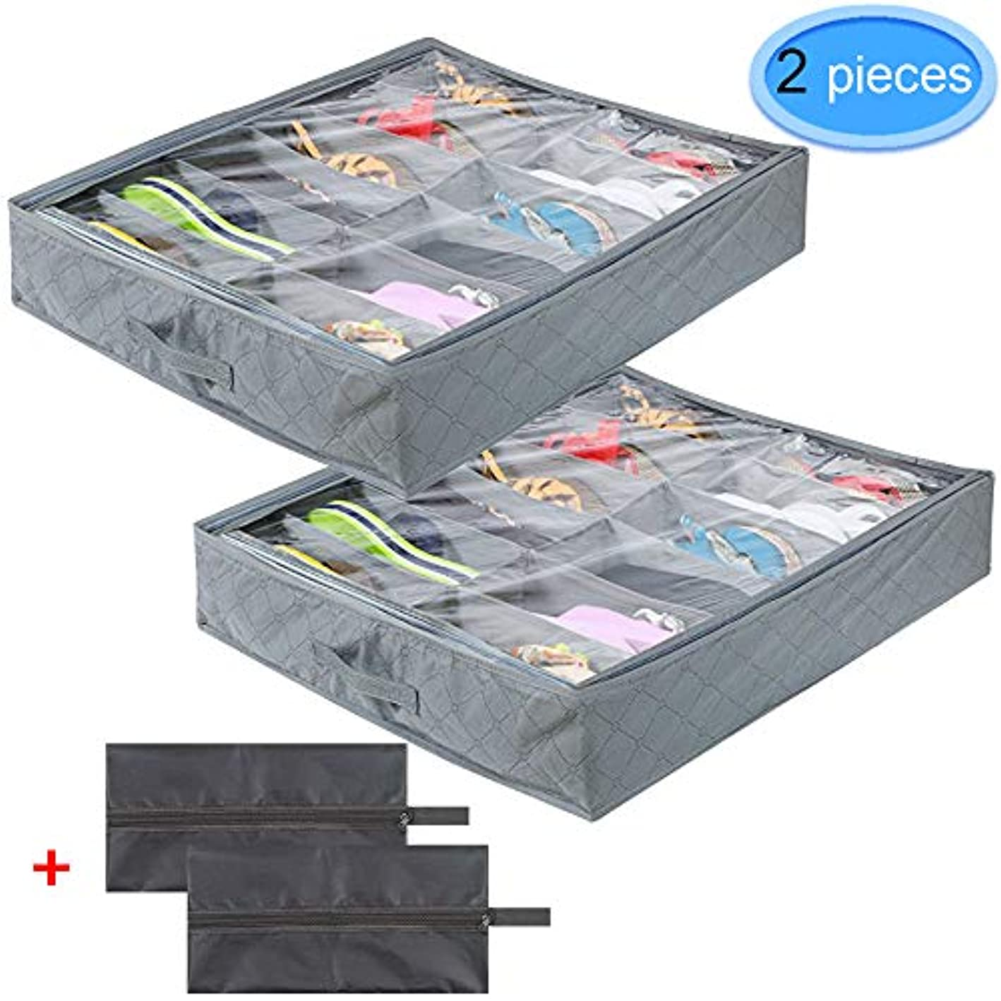 MENOLY 12 Pairs Under Bed Shoe Organizer 2 Pack, Underbed Shoes Storage Boxes Drawer Dividers Shoe Storage Container (Gray) with 2 Pack Black Travel Shoe Bags