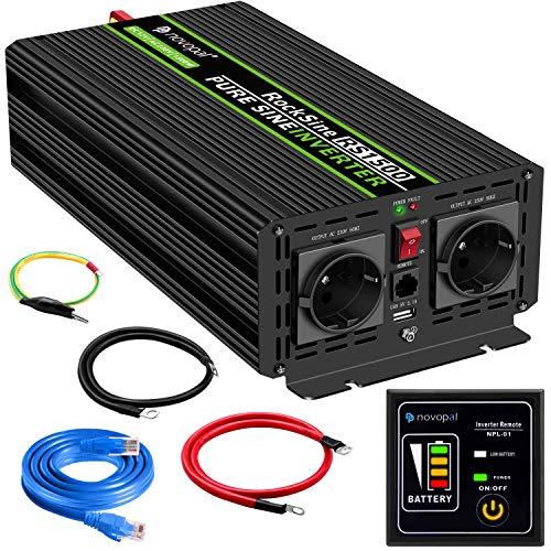 Convertisseur Pur Sinus 1500W-DC 12V à AC 220V/230V Onduleur-2 Prise EU de Courant Alternatif et 1 Port USB-télécommande avec INCL. 5 mètres-Puissance de Pointe 3000W transformateur de Tension