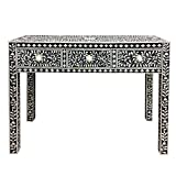 Bone Inlay Console Hall Table with 3 Drawers Black and White Floral Modern Style Handmade Table Simple Rectangle Hall Table for Living Room for Home Decor Furniture by A.S Industries.