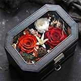 NSCHJZ Ewige Blume Rose, Rosenbox Ewige Rosen Doppelschicht Mit Schublade Cortex Geschenkbox...