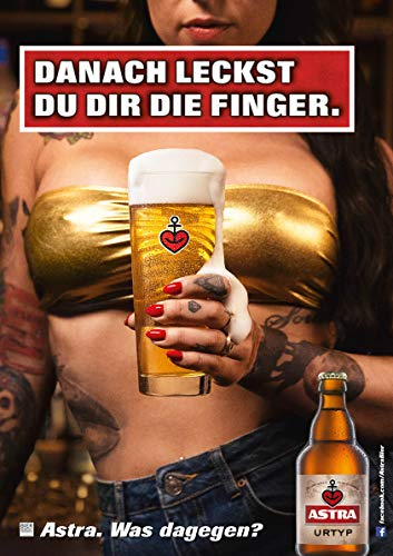 ASTRA Bier Werbung/Reklame Plakat DIN A1 59,4 x 84,1cm Danach leckst Du Dir die Finger, kultiges Poster aus St. Pauli