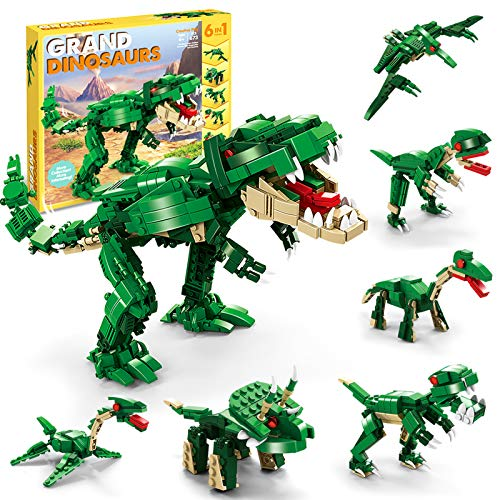 STEM Building Dinosaur Toys for Kids,6 in 1Coordination Dinosaur Building Blocks Toys for Kids Boys & Girls Age 8-12 Year Old Gifts,Dinosaur Toys Building Bricks Set 673 Pcs