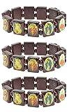LUOS 3pc Wood Bracelet Saints Icon Religious...