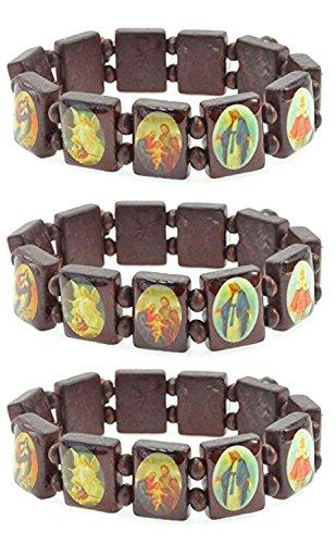 LUOS 3pc Wood Bracelet Saints Icon Religious jewelry stretch bracelet