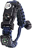 Paracord Survival Bracelet Kit Adjustable with Flint fire Starter + Compass + Thermometer + Whistle + Umbrella Rope + LED Light + Multi-Tool + Card Reader (Blue)