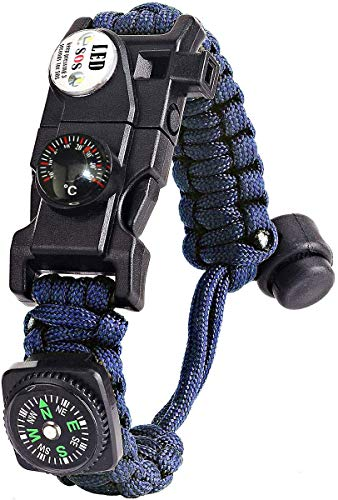 Paracord Survival Bracelet Kit Adjustable with Flint fire starter + Compass + Thermometer + Whistle + Umbrella rope + LED light + Multi-tool + Card reader, for Hiking Camping Outdoor Activities