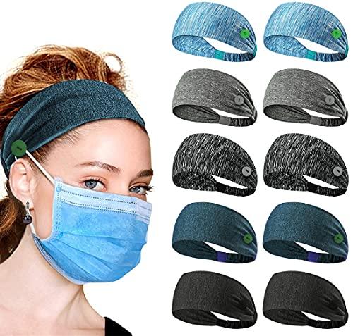 Hodeacc 10 soportes para la cabeza con botones, fundas para la cara, diadema, unisex, elásticas trenzadas para enfermeras, médicos, mujeres, hombres, corriendo suministros al aire libre