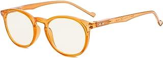 Eyekepper Retro Oval Round UV Protection Eyeglasses with Yellow Tinted Lenses,Anti-reflective Readers Orange Frame +0.00