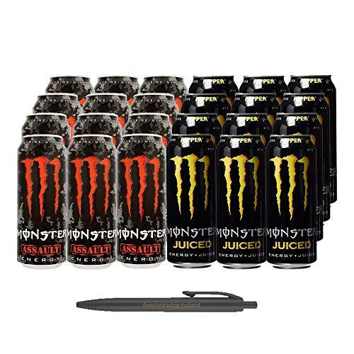 1x12 Monster Assault und 1x12 Monster Ripper Juiced (Insgesamt 24 Einweg-Dosen x 0,5 L) Inkl. Gratis FiveStar Kugelschreiber