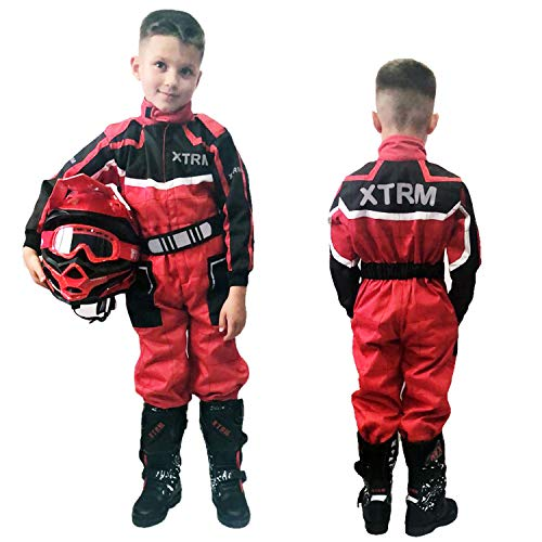 XTRM Kinder Einteiliger Kart Anzug rot Motorrad Off Road Pit Mini Dirt MTB Kinder Fahrrad Reitbekleidung (YM (5–6 Jahre)