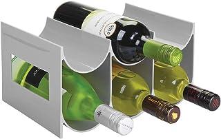 mDesign Práctico estante para botellas de vino y otras bebidas – Botelleros para vino de plástico con capacidad para hasta...