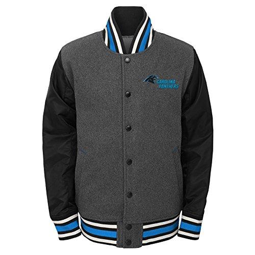 NFL by Outerstuff Big Boys' Letterman Varsity Jacket, Charcoal Grey, Youth Small (8), Carolina Panthers