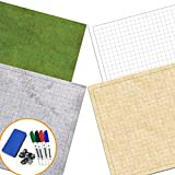 RPG Battle Game Mat - 2 Pack Dry Erase Double sided 36' x 24' (4 Terrains) + 4 Dry Erase Markers + 1 Eraser + 7pc Polyhedral Dice Set - Large Table Top Role Playing Map for Starters and...