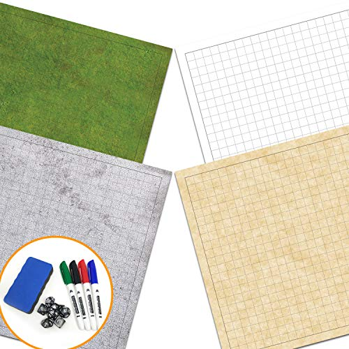 "RPG Battle Game Mat - 2 Pack Dry Erase Double sided 36"" x 24"" (4 Terrains) + 4 Dry Erase Markers + 1 Eraser + 7pc Polyhedral Dice Set - Large Table Top Role Playing Map for Starters and Masters"