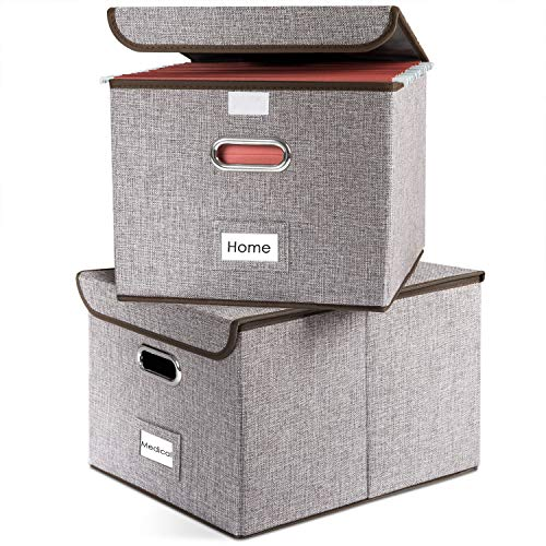 Prandom File Organizer Boxes - Set of 2 Collapsible Decorative Linen Filing Storage Hanging File Folders with Lids Office Cabinet Letter Size (15x12.2x10.75 inch)