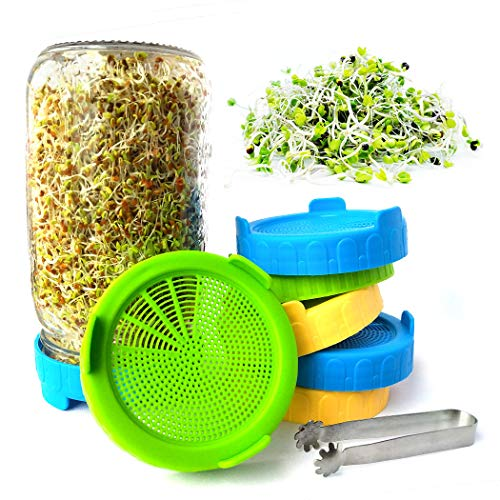 Sprouting Lids for Wide/Large Mouth Mason Jar, Plastic Sprouting Lid for Sprouting Broccoli/Alfalfa Seeds/Mung Beans,Microgreens Growing Kit(7PCS)