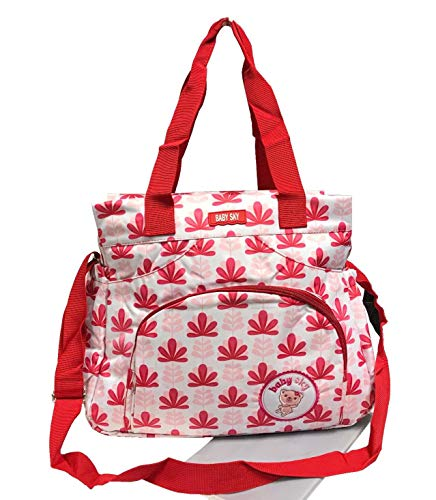 Borsa a tracolla impermeabile per pannolini per bambini 9050 (9050-fiore rosa)