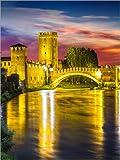 Posterlounge Leinwandbild 100 x 130 cm: Castelvecchio in Gelbtönen von Editors Choice - fertiges Wandbild, Bild auf Keilrahmen, Fertigbild auf echter Leinwand, Leinwanddruck