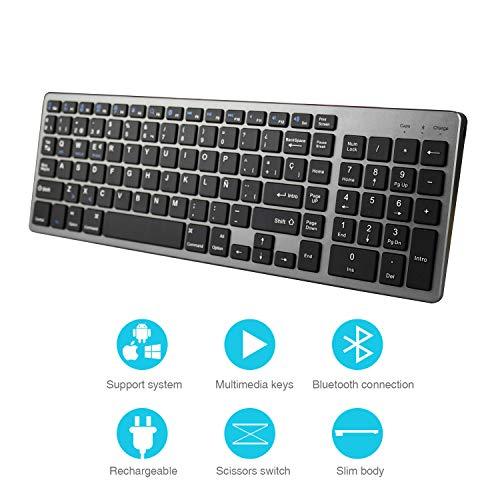 Z Zienstar- Teclado Bluetooth Español,Teclado Inalámbrico Estándar Recargable con Teclado Numérico para Computadora Portátil, Computadora de Escritorio,Tableta,Windows iOS,Android (Gris)